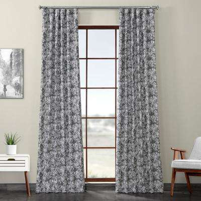 Botanic Gray Printed Linen Textured Blackout Curtain - 50 in. W x 96 in. L (1-Panel)