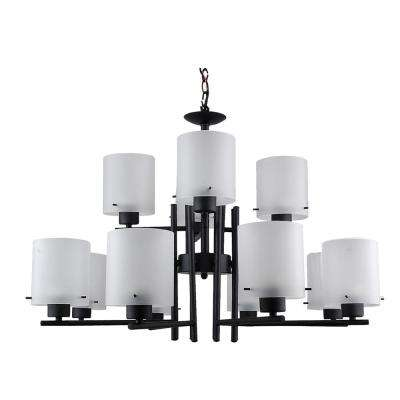 12-Light Black Chandelier with Etched Acid Wash Glass Shade
