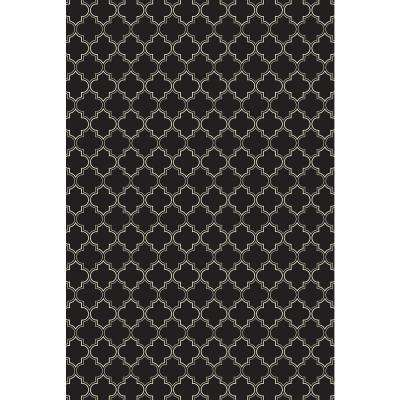 Quaterfoil Design 2ft x 3ft black & white Indoor/Outdoor vinyl rug.