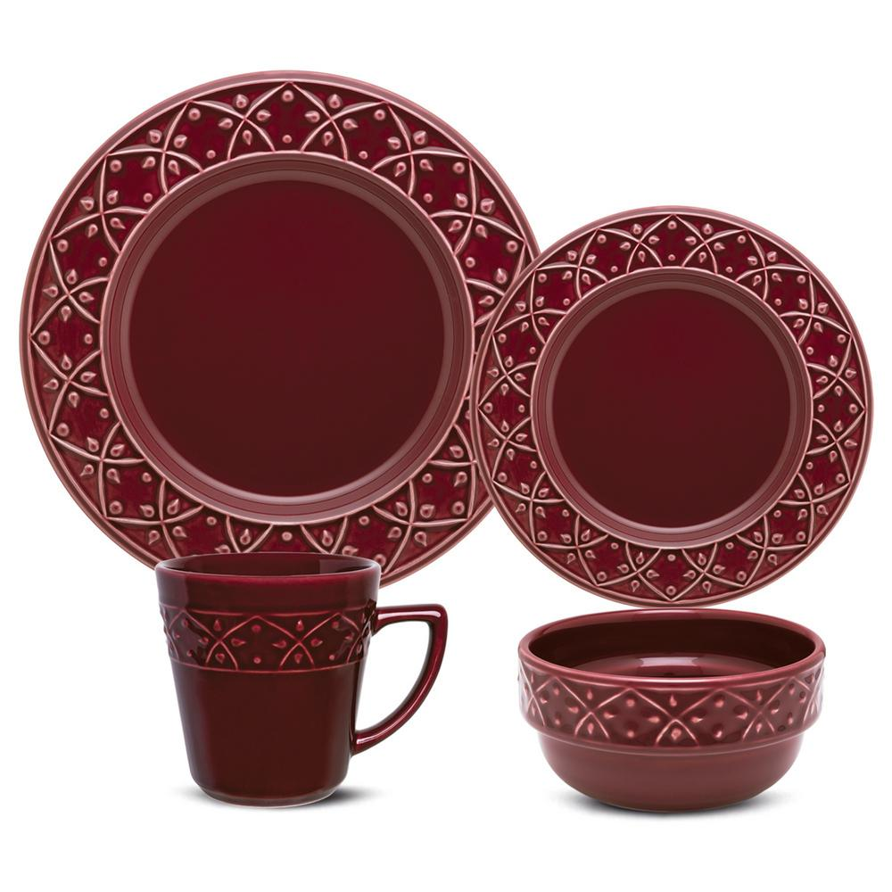 Manhattan Comfort Mendi Maroon Red 24-Piece Casual Maroon Red Earthenware Dinnerware Set (Service for 6) was $329.99 now $185.91 (44.0% off)