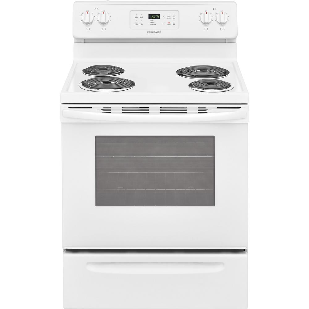 frigidaire 30 in 5 3 cu ft single oven electric range with self cleaning oven in white. Black Bedroom Furniture Sets. Home Design Ideas