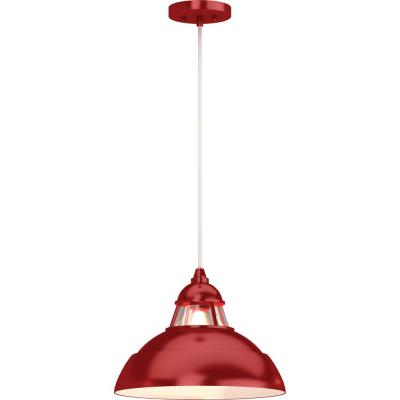 1-Light Indoor Red Hanging Pendant with Lighthouse-Inspired Bowl and Clear Glass