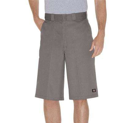 Men's Silver 13 in. Loose Fit Multi-Use Pocket Work Short
