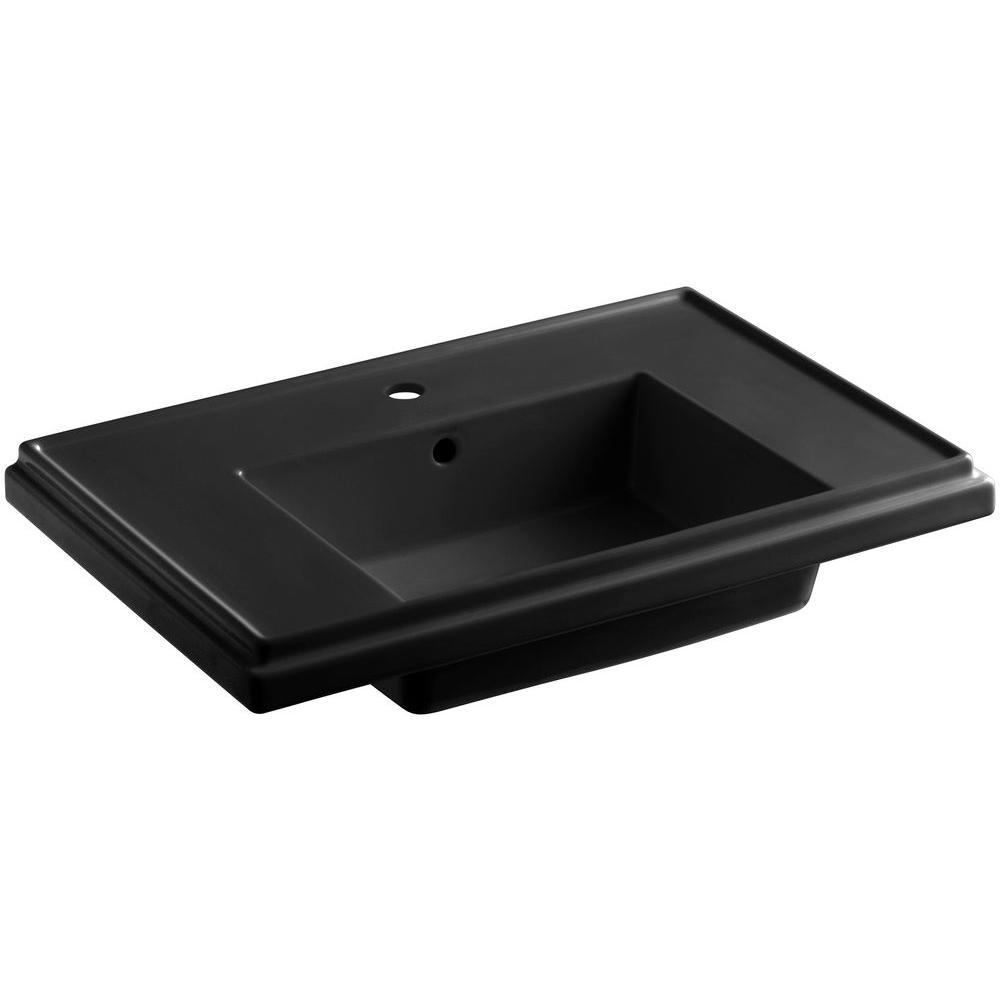Tresham 30 in. Fireclay Pedestal Sink Basin in Black Black with Overflow Drain