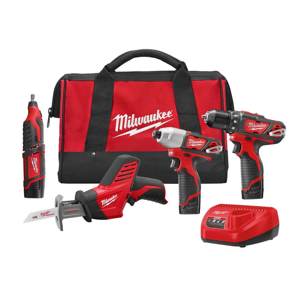 Milwaukee M12 12-Volt Lithium-Ion Cordless Combo Tool Kit (4-Tool) with (3)  1 5Ah Batteries, (1) Charger, (1) Tool Bag