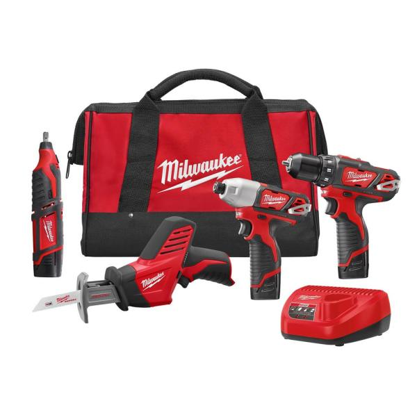Milwaukee M12 12-Volt Lithium-Ion Cordless Combo Tool Kit (4-Tool) with (3) 1.5Ah Batteries, (1) Charger, (1) Tool Bag