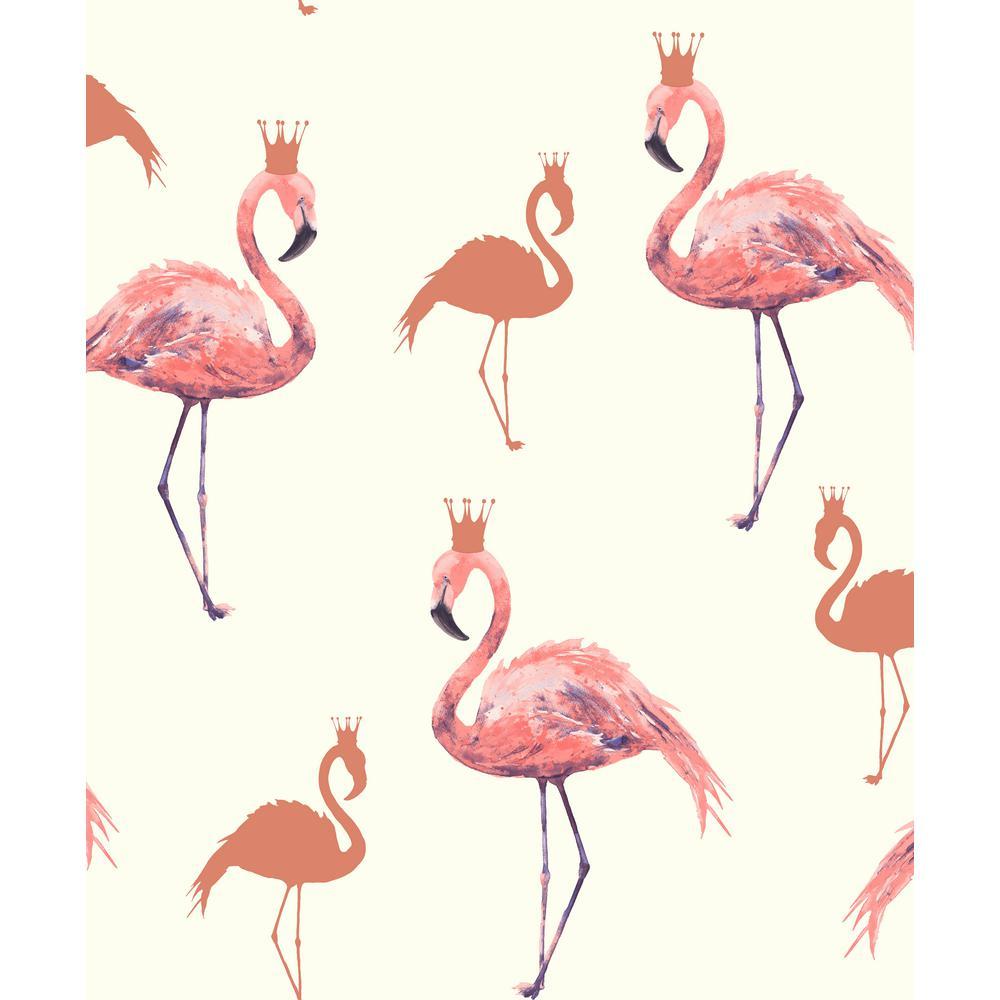 Flamingo Queen Coral Wallpaper