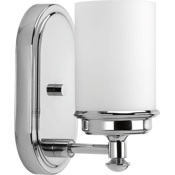 Glide Collection 1-Light Polished Chrome Bath Sconce with Opal Glass Shade