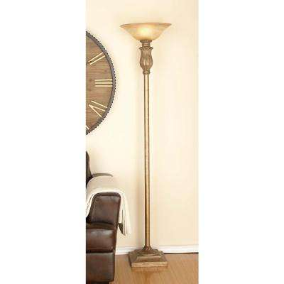 71 in. Classic Metal Glass Brown and White Floor Lamp