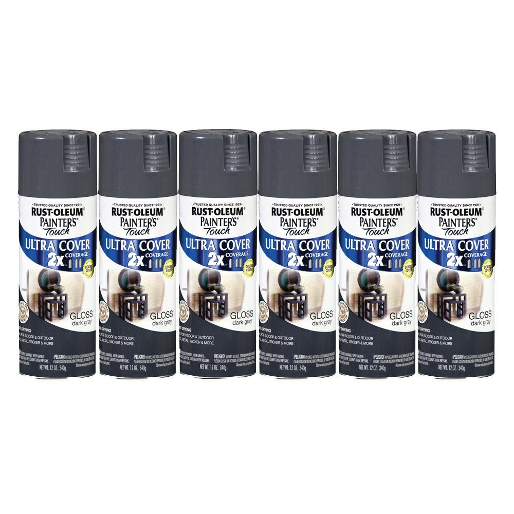Painter's Touch 12 oz. Gloss Dark Gray Spray Paint (6-Pack)-DISCONTINUED