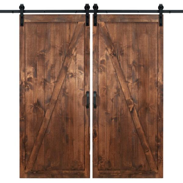 Dogberry 36 In X 84 In Classic Z Walnut Double Sliding Barn Door With Hardware Kit D Zbar 3684 Waln None Dbhd The Home Depot