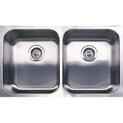 Spex Plus Undermount Stainless Steel 31.13 in. Equal Double Bowl Kitchen Sink