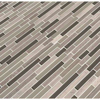 Modello Grigio Interlocking 12 in. x 12 in. x 6 mm Textured Glass Stone Mesh-Mounted Mosaic Tile (1 sq. ft.)