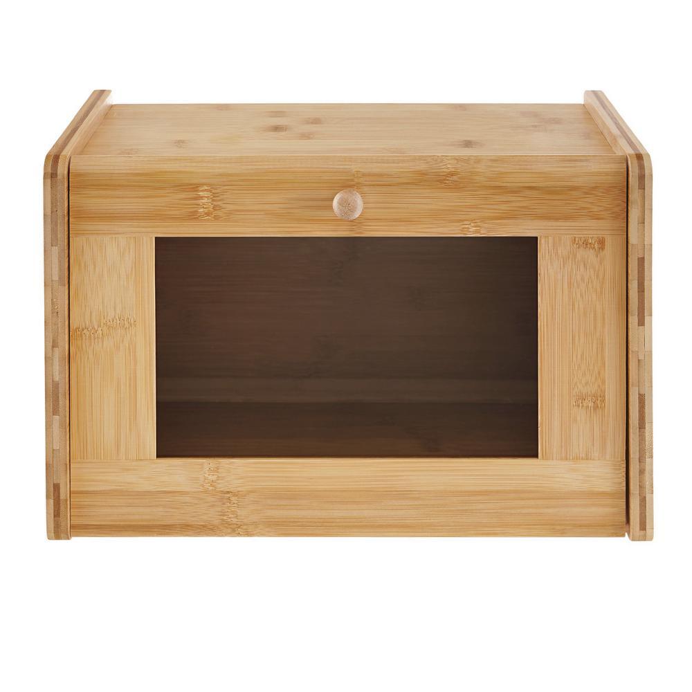 Genial 9.75 In. X 15.5 In. X 9.5 In. Bamboo Bread Box With Window