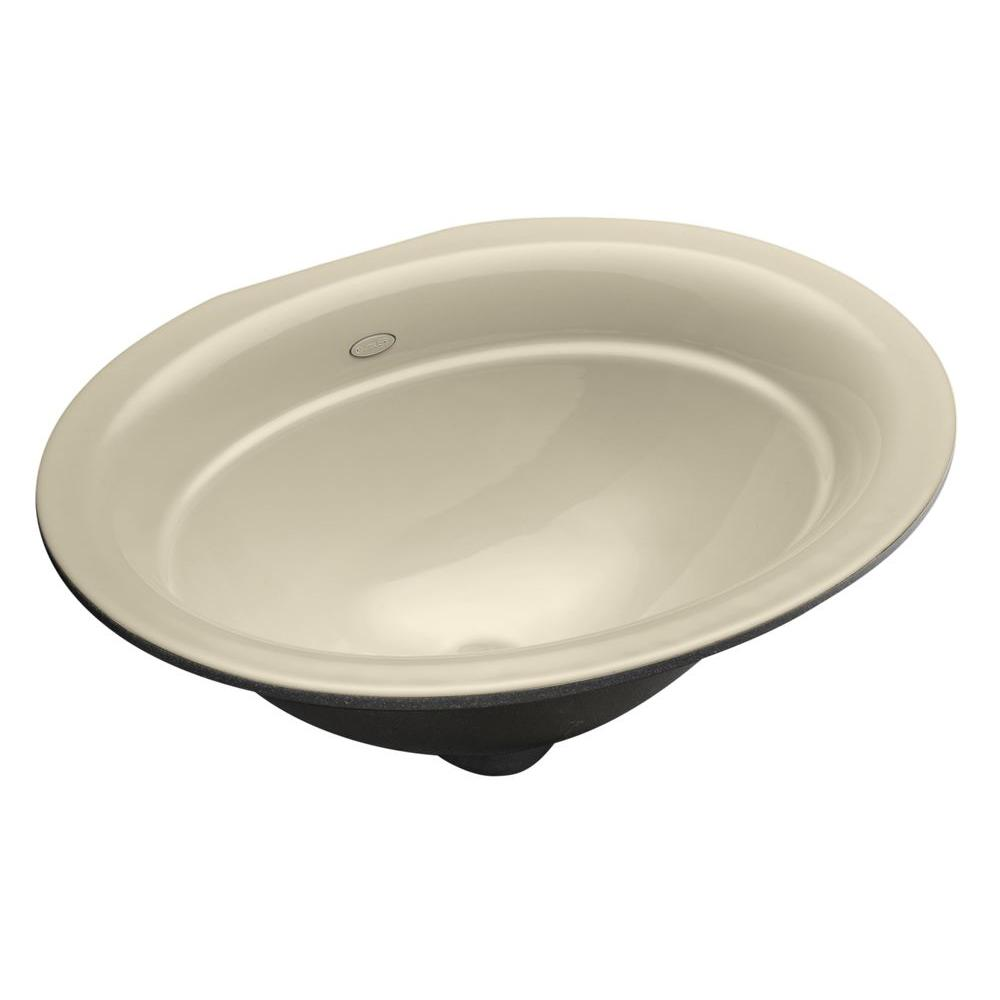 Kohler Serif Undermount Cast Iron Bathroom Sink In Almond K 2824 47 The Home Depot