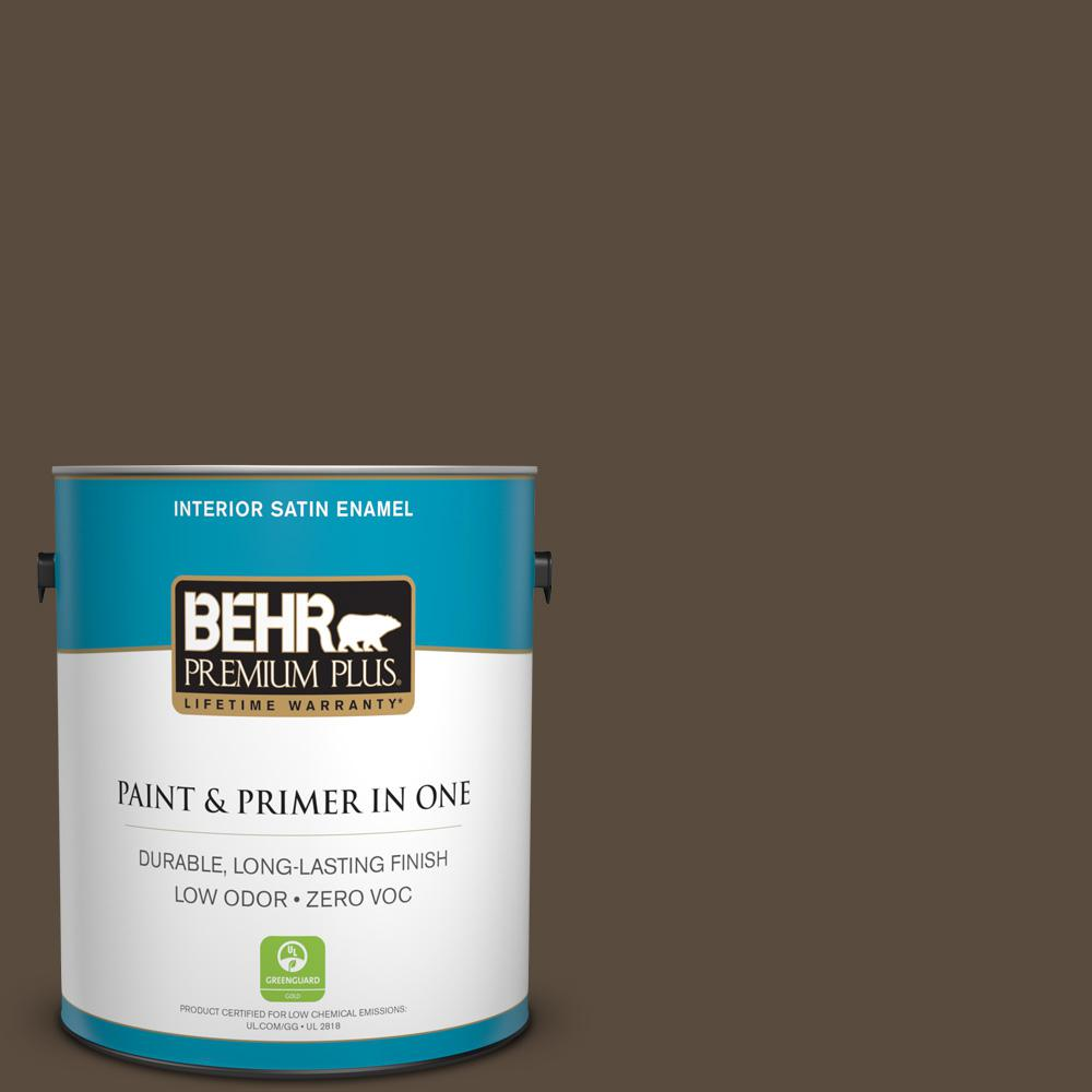1 gal. #HDC-FL15-05 Warm Pumpernickel Zero VOC Satin Enamel Interior Paint