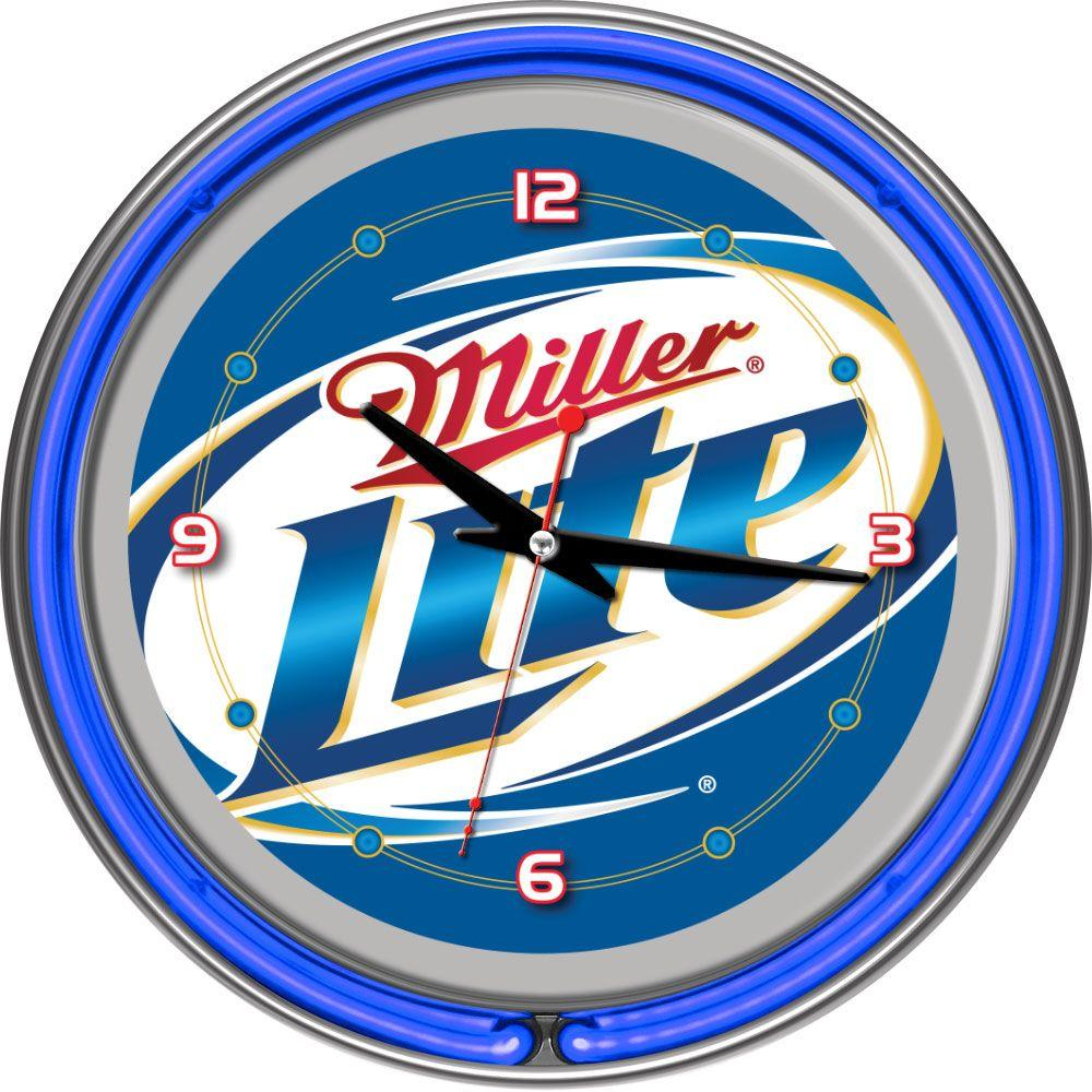 Trademark Global 14 in. Miller Lite Neon Wall Clock