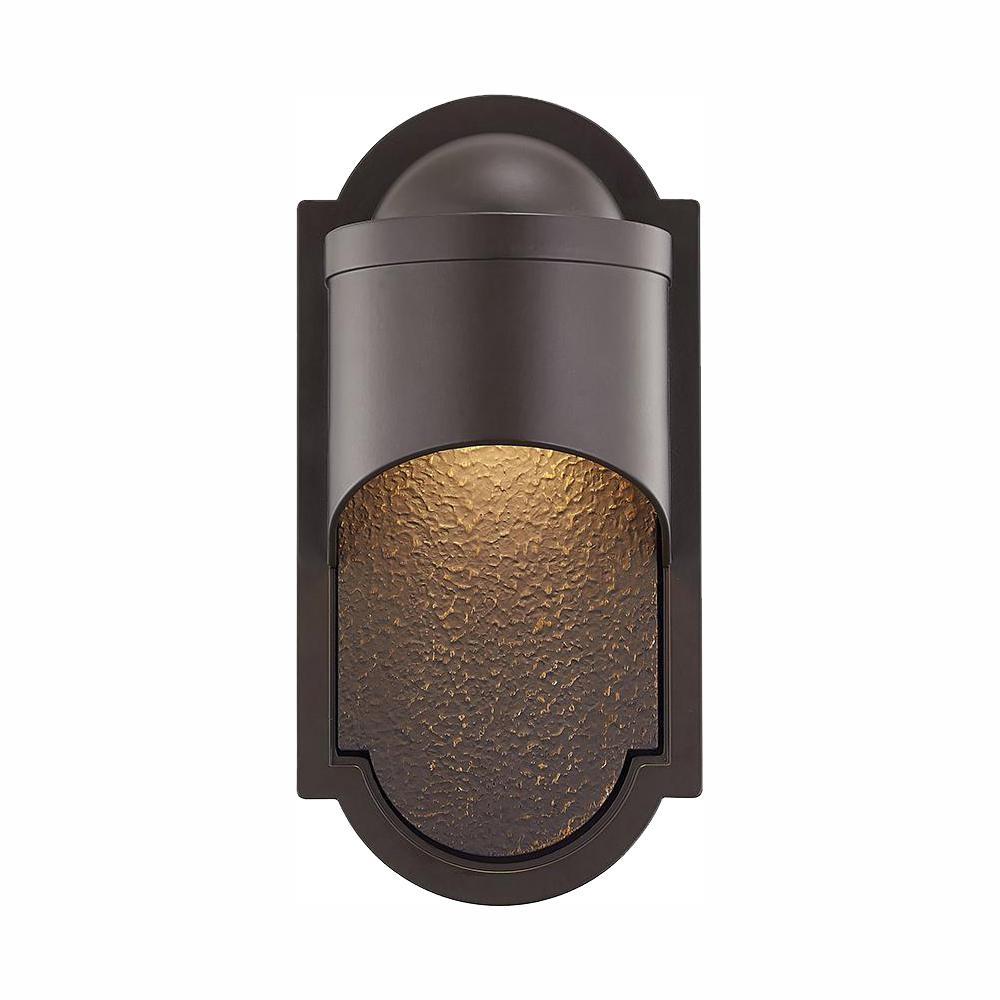 HomeDecoratorsCollection Home Decorators Collection Dark Sky 1-Light Bronze Outdoor Integrated LED Wall Lantern Sconce
