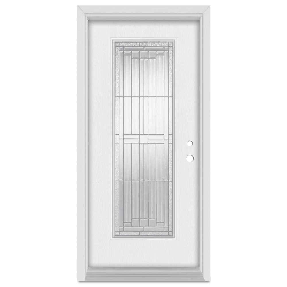 Stanley Doors 32 in. x 80 in. Architectural Left-Hand Zinc Finished Fiberglass Mahogany Woodgrain Prehung Front Door Brickmould