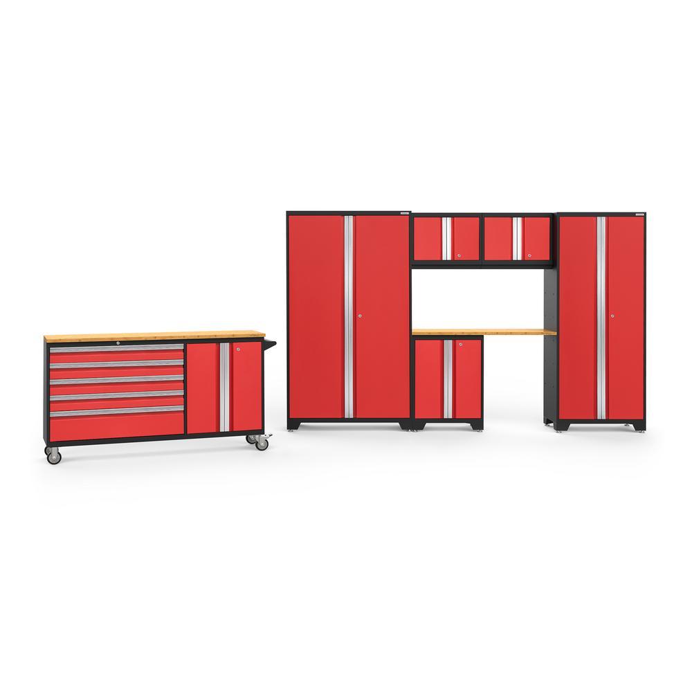 Bold 3.0 182 in. W x 75.25 in. H x 18 in. D 24-Gauge Welded Steel Bamboo Worktop Cabinet Set in Red (7-Piece)