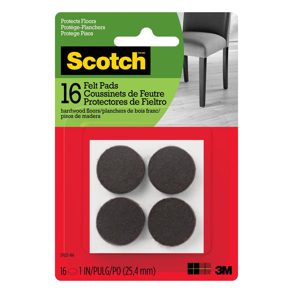 1 in. Brown Round Surface Protection Felt Floor Pads ((16-Pack)(Case of