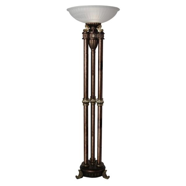 72 in. Majestic Gold Floor Lamp with Frosted Glass Shade
