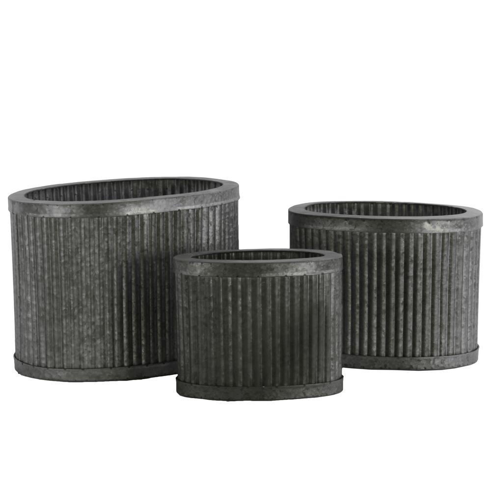 Silver Rust Galvanized Finish Metal Decorative Vase (Set of 3)