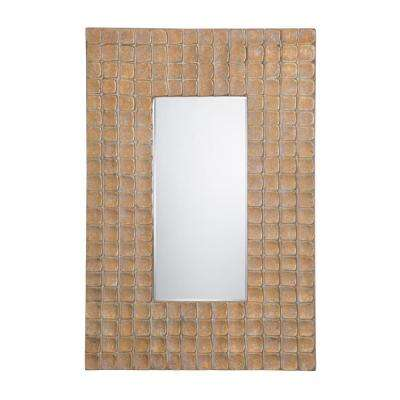 24 in. x 35 in. Rectangular Iridescent Wood Frame Wall Mirror