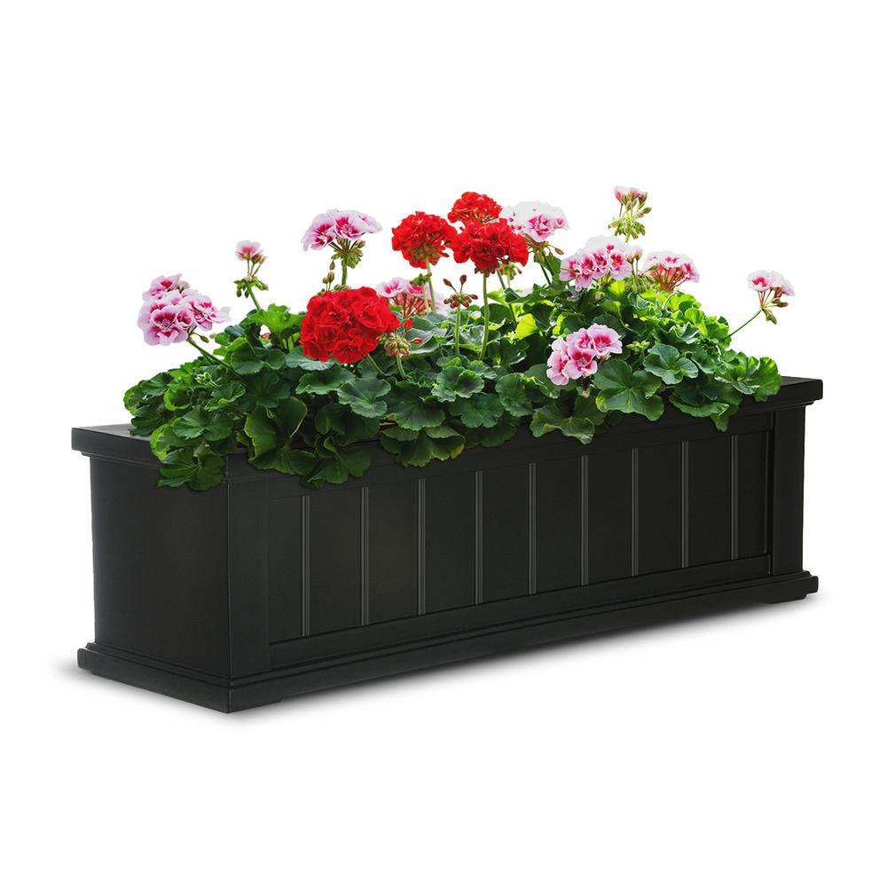 Mayne 11 In X 36 In Black Cape Cod Window Box 4840 B The Home Depot