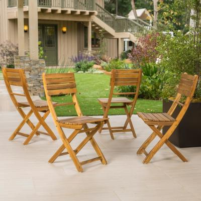Positano Natural Foldable Wood Outdoor Dining Chair (4-Pack)