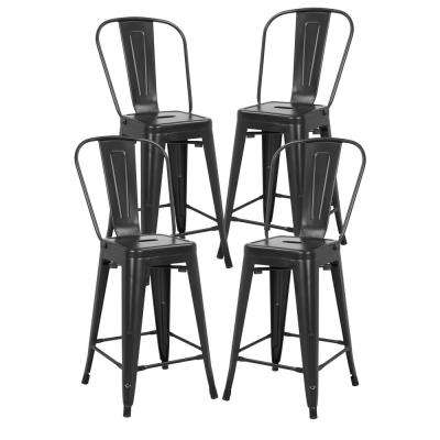 Trattoria 24 in. High Back Counter Stool in Black (Set of 4)