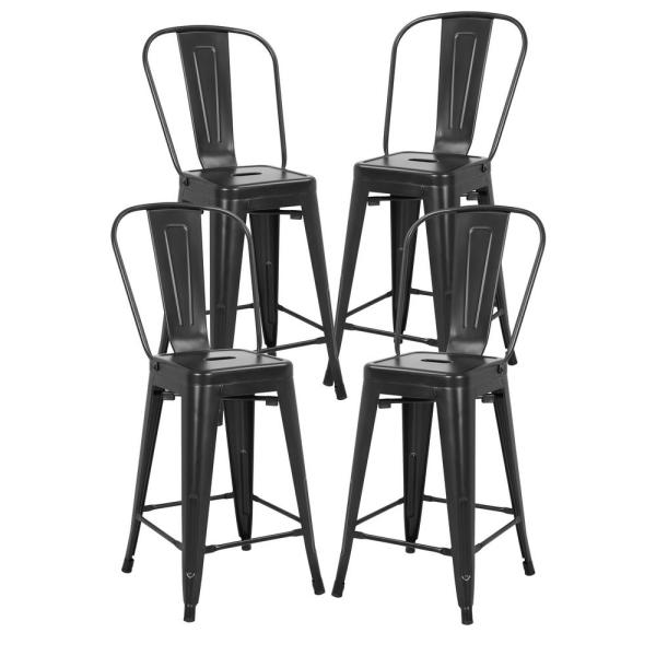Poly and Bark Trattoria 24 in. High Back Counter Stool in Black (Set of 4)