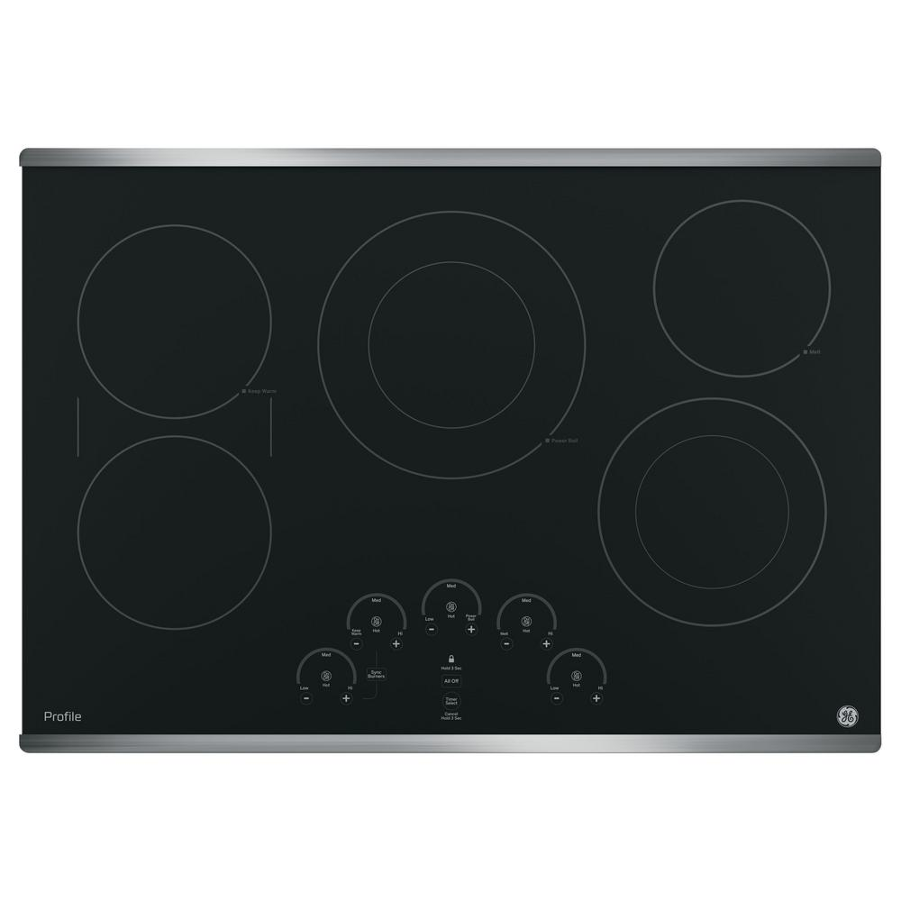 GE Profile 30 in. Radiant Electric Cooktop in Stainless Steel with 5 Elements with Rapid Boil