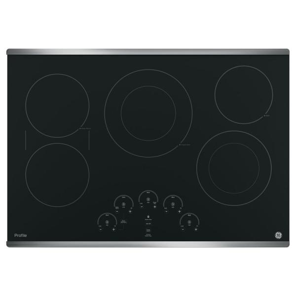 Profile 30 in. Radiant Electric Cooktop in Stainless Steel with 5 Elements with Rapid Boil