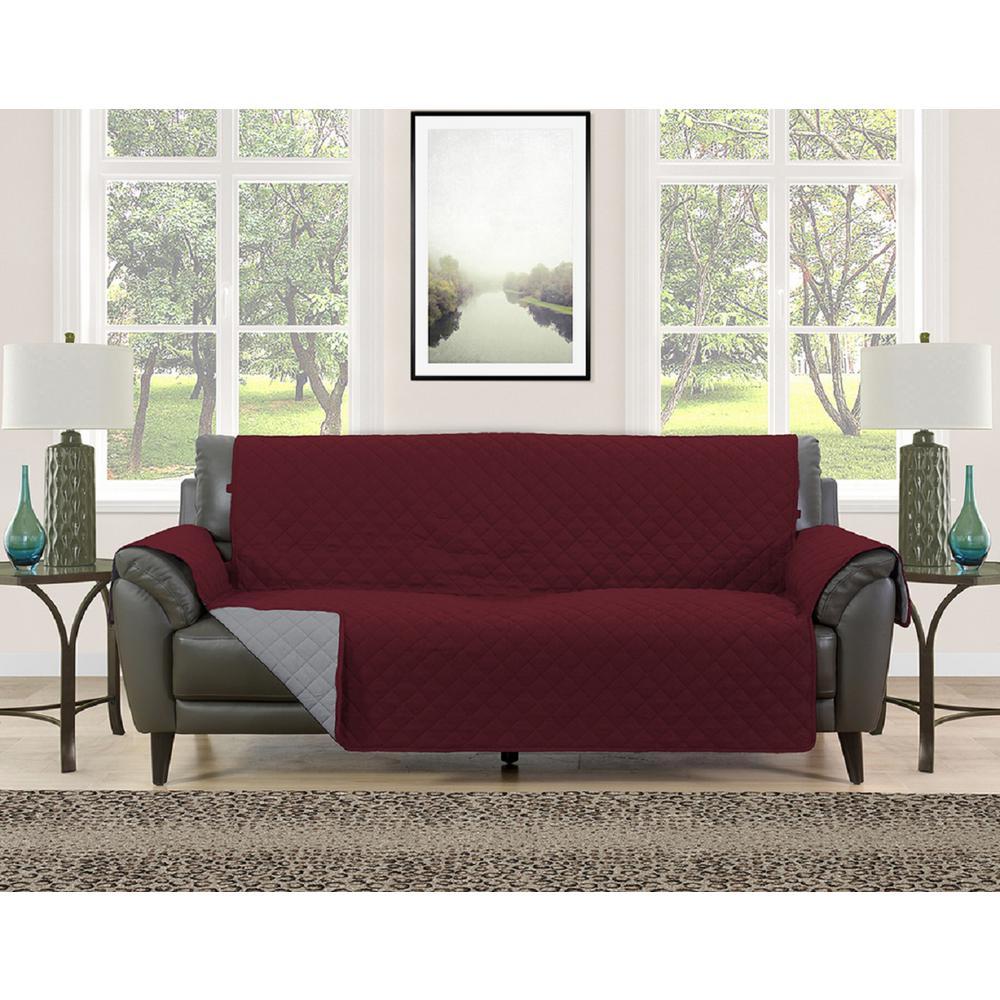 Charming Barrett Burgundy/Grey Microfiber Reversible Couch Protector