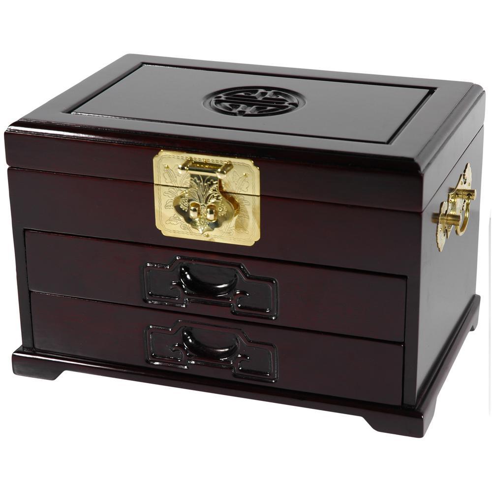 Oriental Furniture Dark Rosewood Jewelry Box with 2 Drawers