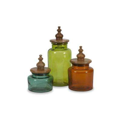 Saburo Blue, Red and Green Glass Canisters (Set of 3)