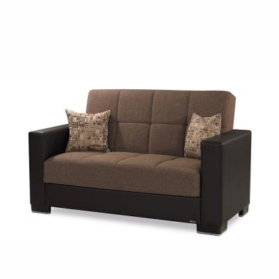 Armada 64 in. Brown Chenille 2-Seater Convertible Loveseat with Storage