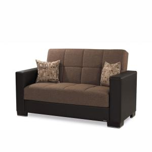Armada Brown Fabric Upholstery Love Seat with Storage