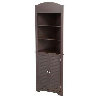 Ellsworth 23-1/4 in. W x 68-3/10 in. H x 11-1/2 D Corner Bathroom Linen Storage Tower Cabinet in Espresso