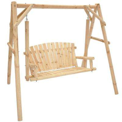2-Person Rustic Log Wood Patio Outdoor Porch Swing and Stand Cabin Inspired Furniture