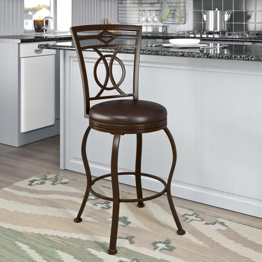 Jericho 26 in. Metal Bar Stool with Swivel Dark Brown Bonded