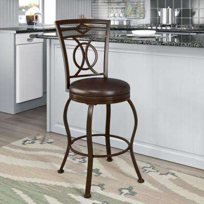 Jericho 26 in. Metal Bar Stool with Swivel Dark Brown Bonded Leather Seat