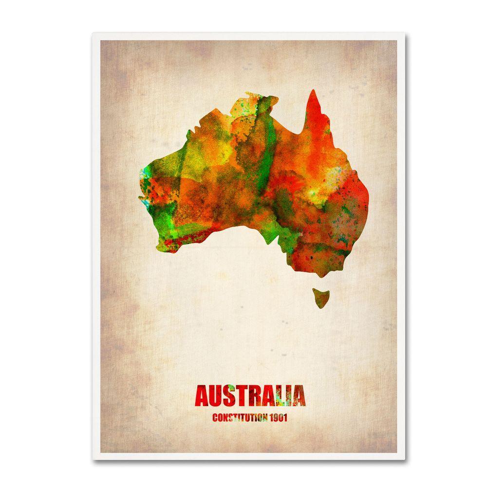 Trademark Fine Art 19 in. x 14 in. Australia Watercolor Map Canvas Art