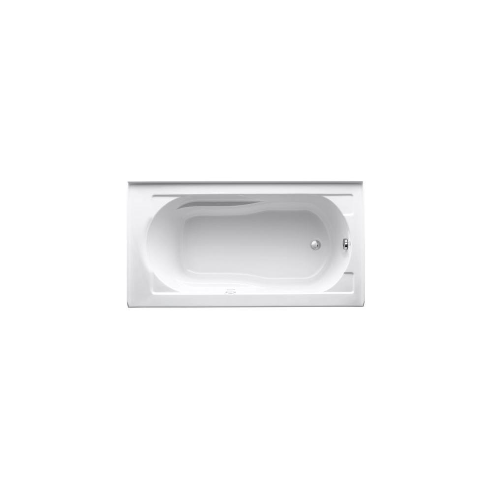 KOHLER Devonshire BubbleMassage 5 ft. Right-Hand Drain Integral Farmhouse Rectangular Alcove Bathtub with Heater in White