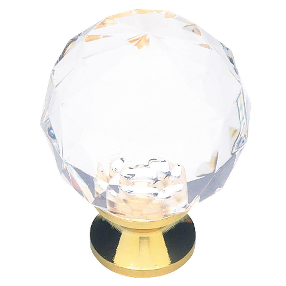 Brass With Clear Faceted Acrylic Ball Cabinet Knob