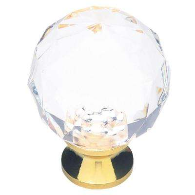 Brilliant Cut 1-3/16 in. (30mm) Clear Acrylic with Brass Base Round Cabinet Knob