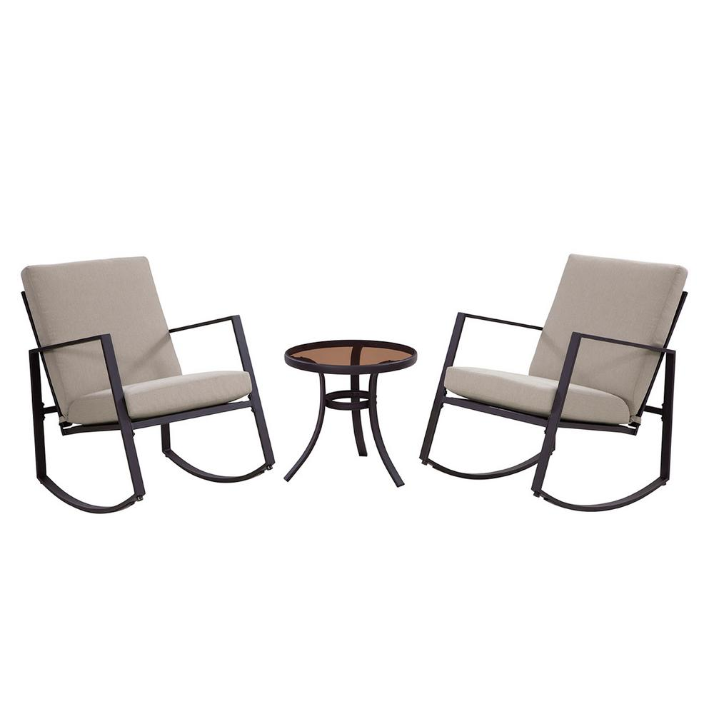Liberty Garden Aurora 3 Piece Metal Outdoor Rocking Chair