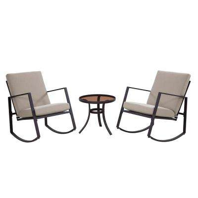 Aurora 3-Piece Metal Outdoor Rocking Chair Set with Tan Cushions