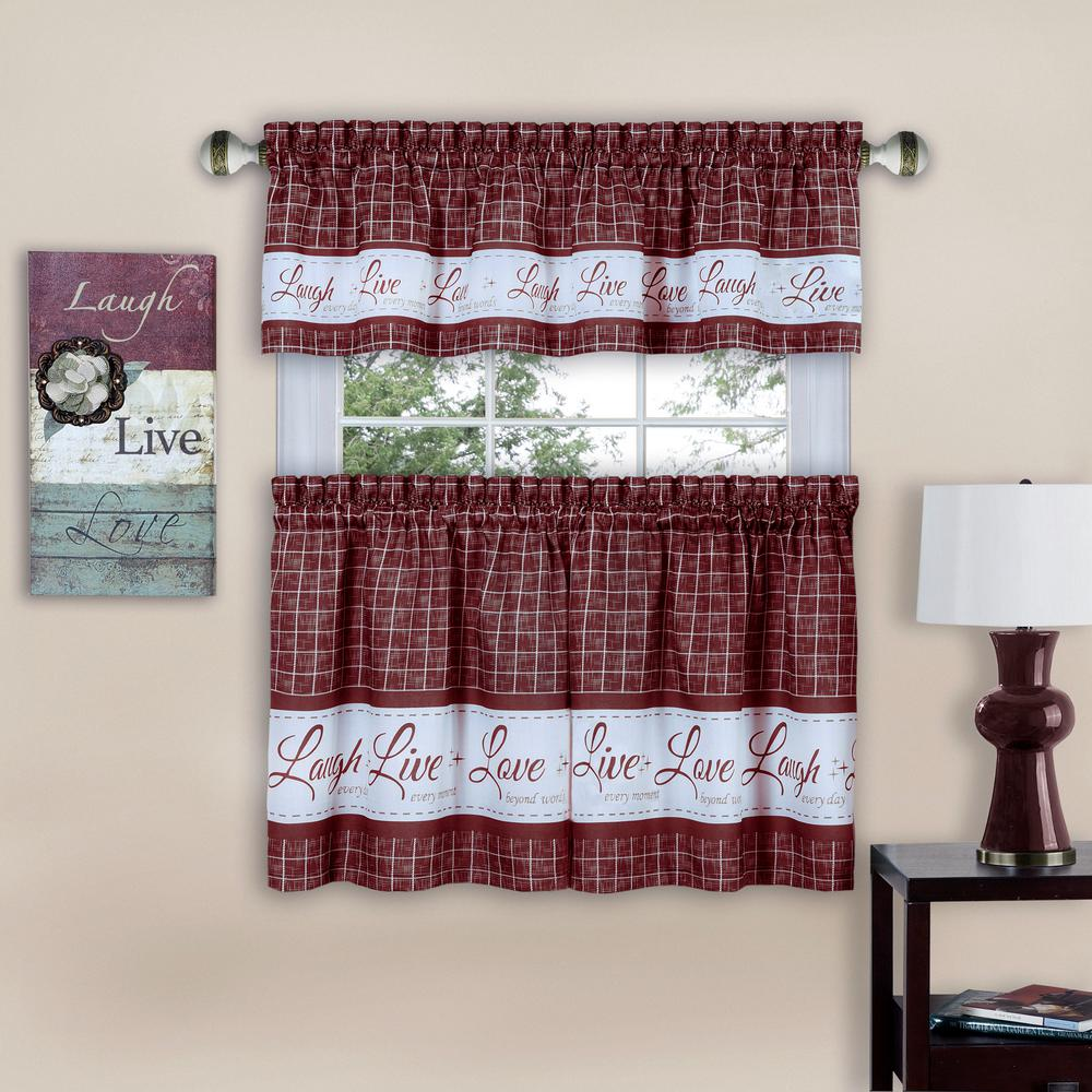 L Burgundy Polyester Tier And Valance Curtain Set